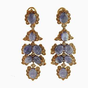 Boucles d'Oreilles Diamants, Tanzanite et Or Rose 14K, Set de 2