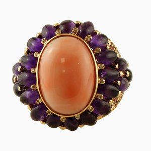 Diamonds, Amethyst, Tourmaline, Coral and 14K Yellow Gold Ring
