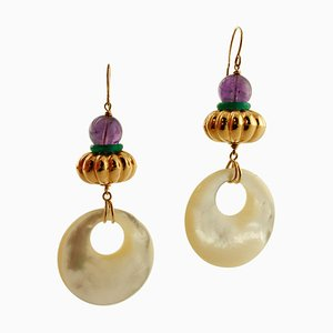 Amethyst, Mother-of-Pearl & 18K Yellow Gold Earrings, Set of 2