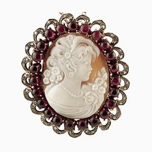Broche o colgante de camafeo vintage con granates, diamantes, oro rosa y plata
