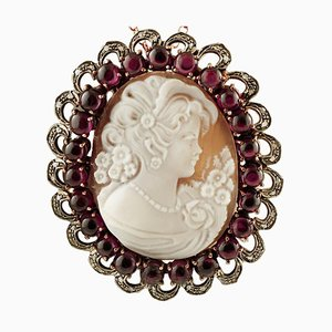 Vintage Cameo Brooch or Pendant with Garnets, Diamonds, Rose Gold and Silver