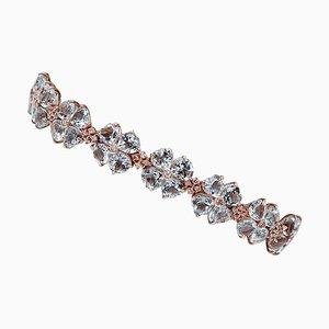 14 Karat Rose Gold Bracelet with Aquamarine Hearts & Diamonds