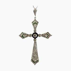 Diamonds, Emeralds, Onyx and 14K White Gold Cross Pendant Necklace