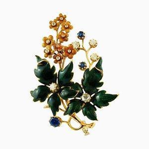 Saphire, Diamanten und 14 Karat Gelbgold und Emaille Brosche