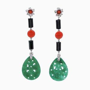Diamonds, Onyx, Coral, Green Agate and 18 Karat White Gold Dangle Earrings, Set of 2