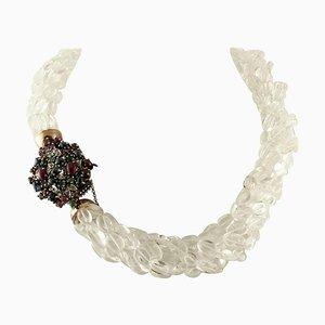 Halskette mit Diamanten, Rubinen, Smaragden, Saphiren, Bergkristall & Roségold und Silberverschluss