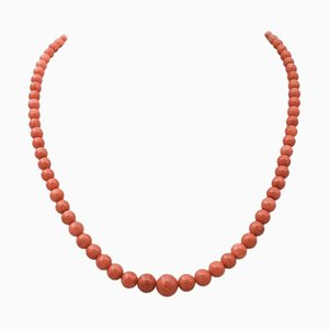 Ancient Italian Coral and 18 Karat Yellow Gold Necklace