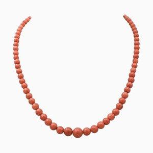 Antike italienische Halskette aus 18 Karat Gelbgold und Koralle