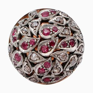 Diamonds, Rubies, 14 Karat Rose Gold and Silver Dome Ring