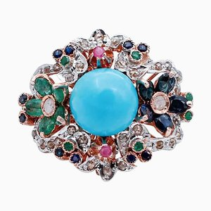 9 Karat Rose Gold and Silver Ring with Rubies, Emeralds, Sapphires, Magnesite & Diamonds