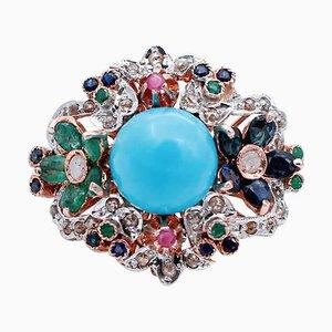 Ring aus 9 Karat Roségold und Silber mit Rubinen, Smaragden, Saphiren, Magnesit & Diamanten