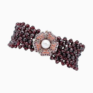 9 Karat Rose Gold and Silver Bracelet with Garnets, Rubies & Pearl