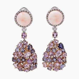 Boucles d'Oreilles Diamants, Améthystes, Iolites, Corail, Or Blanc et Jaune 18 Carats, Set de 2
