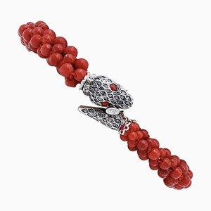 Coral, Diamond, 9 Karat Rose Gold and Silver Snake Bracelet