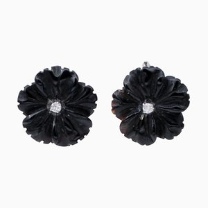 Diamond, Onyx & 14 Karat White Gold Stud Earrings, Set of 2