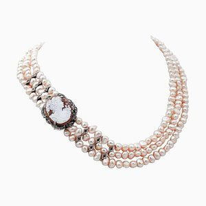 Pink Pearls, Diamonds, Emeralds, Topaz, 9KT Rose Gold and Silver Necklace