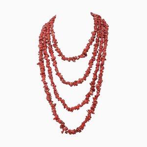 Korallenrote Multi-Stränge Halskette