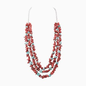Coral and Turquoise Multi-Strands Necklace
