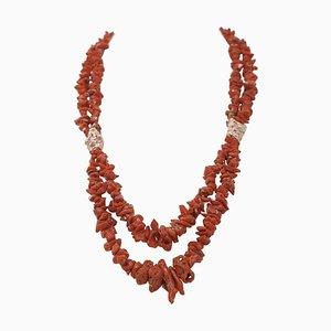 Italian Coral Multi-Strand Necklace