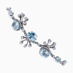 Aquamarine, Diamonds and 18 Karat White Gold Bracelet
