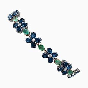 Bracelet Saphirs Bleus, Émeraudes, Diamants, Blanc et Or Rose 14 Carats