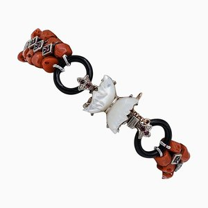 Coral, Rubies, Mother-of-Pearl Onyx, 9 Karat Rose Gold and Silver Bracelet