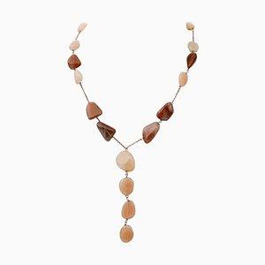 Halskette mit Steinen und 9 Karat Roségold