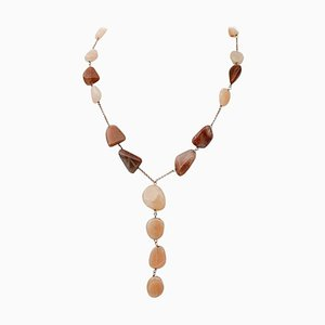 Stones and 9 Karat Rose Gold Necklace