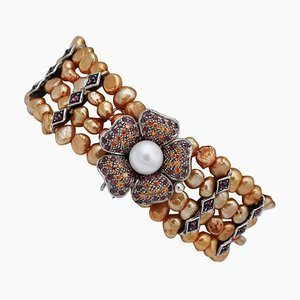 9 Karat Rose Gold and Silver Bracelet with Rubies, Garnets, Stones and Pearls