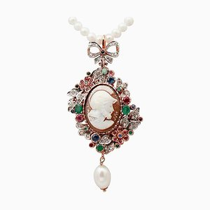 Diamonds, Emeralds, Rubies, Sapphires, Pearls and14KT Gold and Silver Necklace
