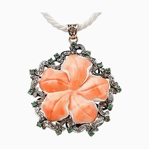 9 Karat Rose Gold and Silver Pendant Necklace with Coral, Emeralds & Diamonds