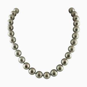 Collier en Perles, Argent et Diamant avec Fermoir en Or Blanc