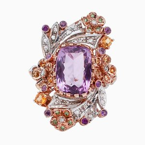 9K Rose Gold and Silver Ring with Diamonds, Amethysts, Topaz & Tsavorites