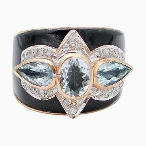 Aquamarine, Diamond, Onyx & 14Kt Rose and White Gold Band Ring