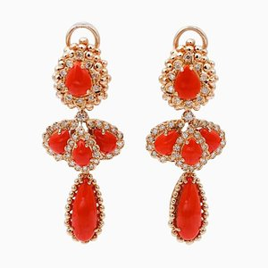 Hängeohrringe aus Koralle, Diamanten und 14 Karat Roségold, 2er Set