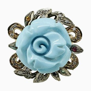 Sapphire, Turquoise Paste, Diamond, Silver & Rose Gold Ring
