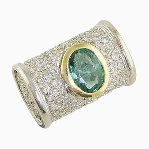 White and Yellow Gold Cocktail Ring with Emerald & Diamonds