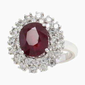 Ruby, Diamond and White Gold Ring