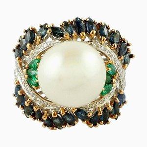 Diamant, Smaragd, Blauer Saphir, Perle & 14 Karat Weiß- und Roségold Cluster-Ring