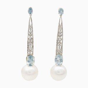 Weiße Hängeohrringe mit Perlen, Aquamarinen, Diamanten und Platin, 2er Set