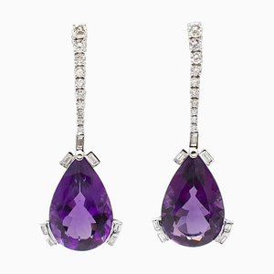 18K White Gold Earrings with 28 Ct Amethyst Drops & Round and Emerald Cut Diamonds, Set of 2