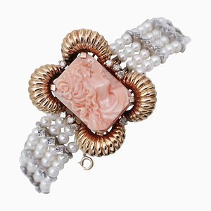 14 Karat White and Rose Gold Beaded Bracelet with Diamonds, Coral & Pearls
