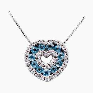 18 Karat White Gold Heart Pendant Necklace with Aquamarine & Diamonds