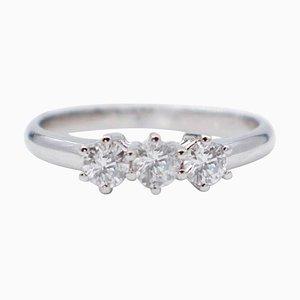 Three-Stone Ring with Diamonds & 18 Karat White Gold