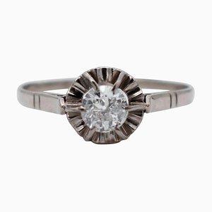 Diamant & 18 Karat Weißgold Ring