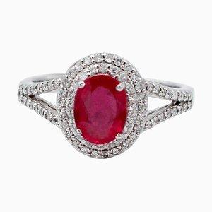 Rubin, Diamant & 18 Karat Weißgold Ring