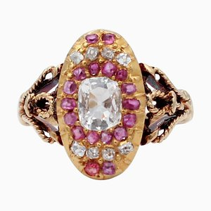 Diamant, Rubin & 18 Karat Gelbgold Ring