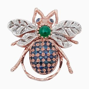 Diamond, Sapphire, Green Agate, 9 Karat Rose Gold and Silver Fly Ring