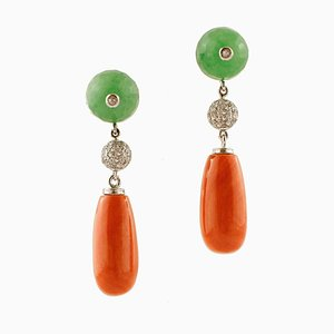 14K White and Rose Gold Drop Earrings with White Diamonds, Green Agate & Coral Drops, Set of 2