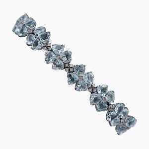 14 Karat White Gold Bracelet with Aquamarine Hearts & Diamonds